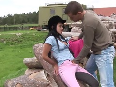 dark brown teen angelica acquires nailed outdoors