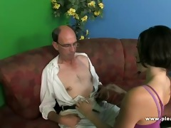grandpa bonks a slim whore with diminutive tits