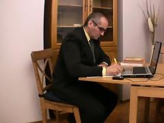 elderly teacher satisfied by beautiful legal age