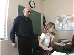 golden-haired coed rubs her slit to her teachers