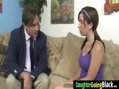 youthful daughter gets pounded by large darksome