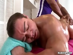 muscled dad naked as brawny masseur strokes