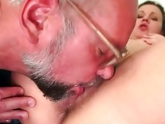 old man and hairy juvenile girl pissing and