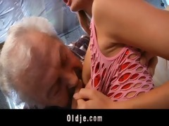 grandpa lucky to fuck a sexy juvenile redhead babe