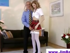 blond masturbating in advance of old stud