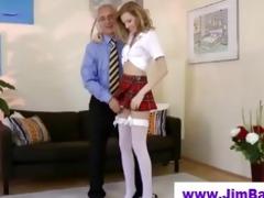 blond masturbating in advance of old stud