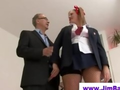 old guy fucks pigtailed blonde