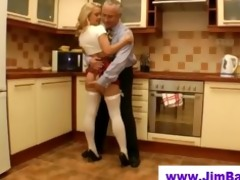 old chap fucks blonde in short skirt