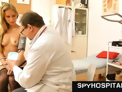 sporty golden-haired secretly videotaped with