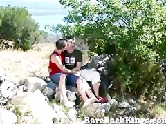 goodlooking threesome outdoors