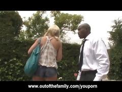 fresh black stepdad punishes blonde daughter for