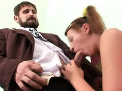teacher is getting soaked oral-stimulation