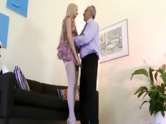 sweet hottie seduces old stud