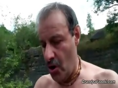 superb babe rides grandpa&#039 s penis in