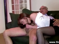 sexy babe gets her pussy screwed by old lad