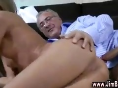 blond babe in stockings fucks old stud