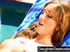cute daughter drilled by obscene stud
