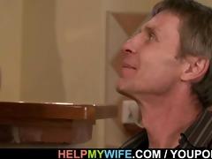 older hubby invites him for cuckolding