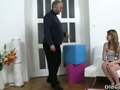 sveta kneels to get her older mans cum all over