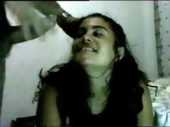 dirty desi bch- takes loads of cumm in her face