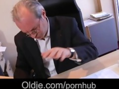 vehement young secretary tease her old boss to