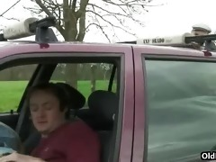 old pervert joins car fuckers