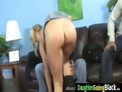 dady watching his daughter group-fucked by black